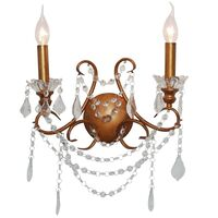 Maison &pipe; Antiqued Gold 2 Branch Cut Glass Chandelier Wall Light