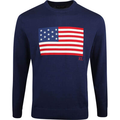 Justin Thomas POLO Golf Jumper Flag Sweater French Navy SS19