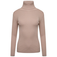 ROLL/POLO NECK RIBBED KNIT TOP - BEIGE - M/L