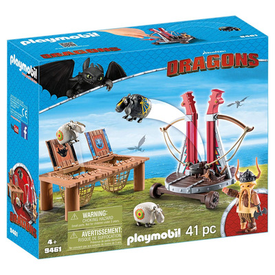 Playmobil DreamWorks Dragons Gobber The Belch With Sheep Sling
