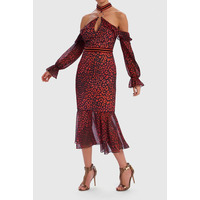 Roxanna Leopard Print Cold-Shoulder Contrast Ruffle Dress - Red - 8
