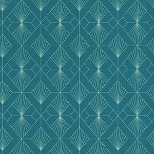 Modern Art Art Deco Geometric Fan Wallpaper Teal / Silver Rasch 620924