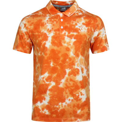 PUMA Golf Shirt Haight Tie Dye Polo Vibrant Orange SS20