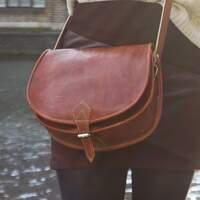 Brown Leather Crossbody Bag - Handcrafted Handbag Harfi