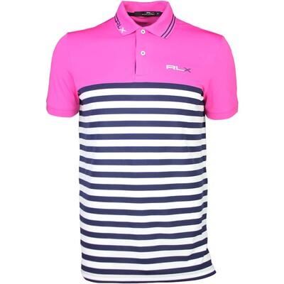 RLX Golf Shirt Stripe Tech Pique Madison Pink SS16