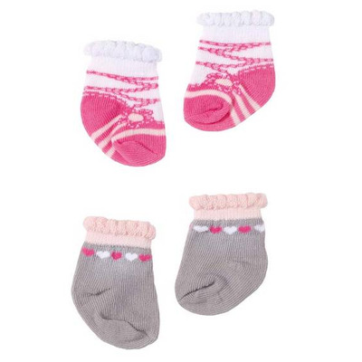 Baby Annabell Socks - Grey hearts and ballet socks in pink and white