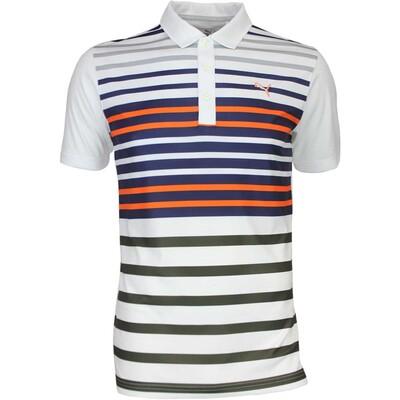 Puma Golf Shirt Road Map White Vibrant Orange AW16