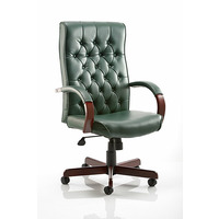 Image of Chesterfield Traditional Leather Armchair Green