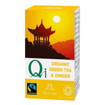 Qi Organic Fairtrade Green Tea & Ginger 20 Bags