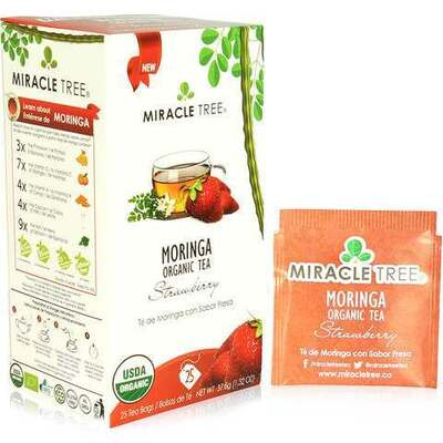 Miracle Tree Moringa Organic Strawberry Tea 25 Bags