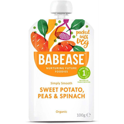 Babease Organic Sweet Potato, Peas & Spinach 100g - Stage 1 - Box of 8