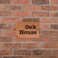 Metallic Acrylic House Signs - copper coloured 300 x 200 - 2 line