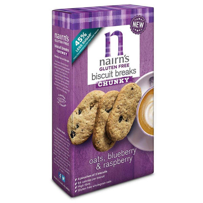Nairn's Gluten Free Oats, Blueberry & Raspberry Chunky Biscuit Break 160g