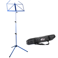 Tiger Portable Folding Sheet Music Stand with Bag - Blue