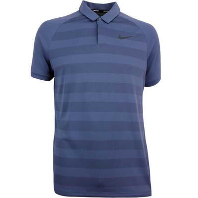 Nike Golf Shirt Zonal Cooling Stripe Thunder Blue SS18