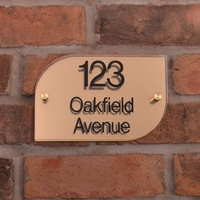 Metallic Acrylic House Signs &pipe; brushed brass effect &pipe; half rounded