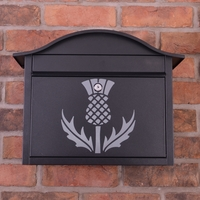 Black Dublin Postbox With Scottish Thistle Design - without
