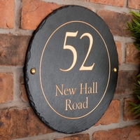 Round Rustic Slate House Nameplate personalised with your address 30cm