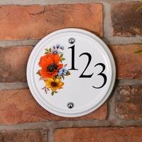 Round ceramic number with autumn design