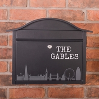 Personalised Black Dublin Postbox With London Skyline