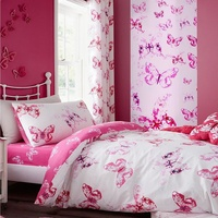Catherine Lansfield Butterfly Eyelet Curtains 66 x 72-Inch Pink