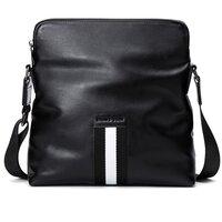 Hautton Unisex Black Cowhide Leather Messenger Bag - Portrait - Black