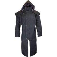 Walker & Hawkes Stockman Navy Long Wax Coat / Raincoat with Hood - XS