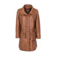 Woodland Leather Ladies Tan 3/4 Drawstring Parka Coat - Tan 8