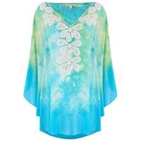 Rumba Silk Beaded Top - Turquoise & Lime