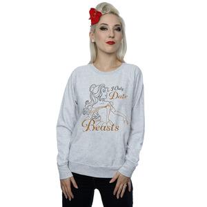 disney princess women's belle i only date beasts sweatshirt