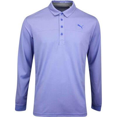 PUMA Golf Shirt Long Sleeve Polo Dazzling Blue Heather AW19
