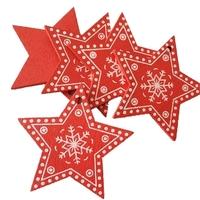Wooden Folk Christmas Stars  Red (10pcs)