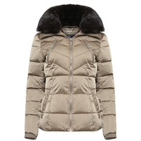RINO & PELLE TEMMY FAUX FUR COLLAR QUILTED COAT - GOLD - 10