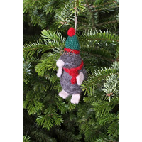 Hand Felted Mr Mole Christmas Tree Decoration