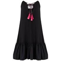 Keyhole Tassel Tie Cotton Mix Dress - Black