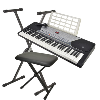 61 Key Electronic Keyboard with Stand, Microphone, Headphones & Bench