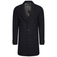 Foundation Wool Crombie Coat - Navy Check - M