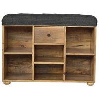 Black Tweed 6 Slot Shoe Storage Bench