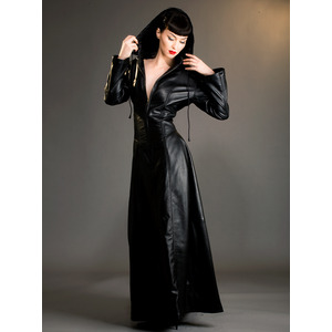 Leather Hooded Gothica Dress Preview