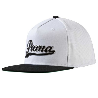Puma Golf Cap Script Snapback White Black AW16