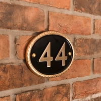 Rope Rim Brass House Number 19 x 14cm