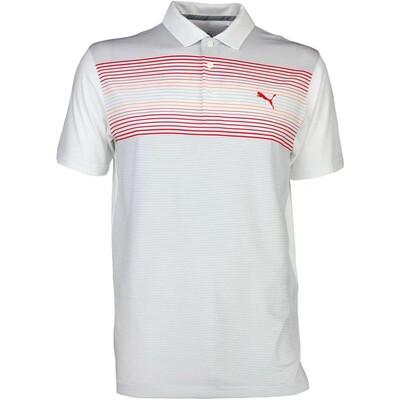 Puma Golf Shirt Highlight Stripe White Vibrant Orange SS17
