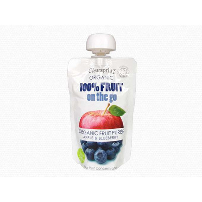 Clearspring Organic 100% Fruit On The Go Puree - Apple & Blueberry 100g