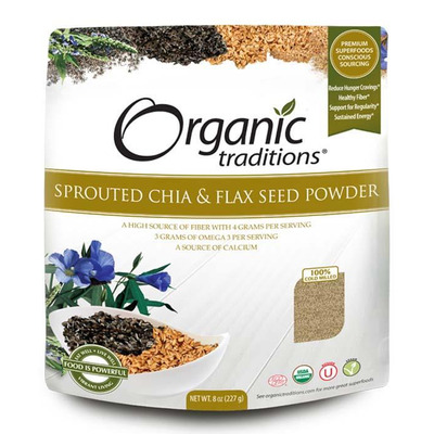 Organic Traditions Sprouted Chia & Flax Powder 227g