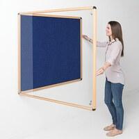 Image of Shield Wood Effect Alu Frame Eco-Colour Tamperproof Noticeboard 900 x 1200mm BLUE