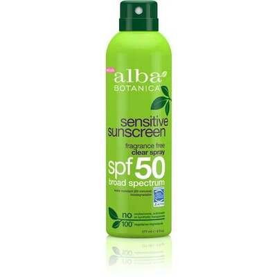 Alba Botanica Suncare Fragrance Free Clear Spray SPF50 177ml