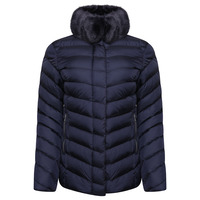 Rino & Pelle Rinske Faux Fur Collar Quilted Jacket - Navy Blue (8)