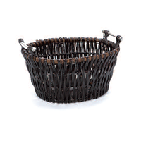 Inglenook Dark Wicker Log Basket with Chrome Handles