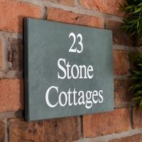 Slate House Sign 3 line 30.5 x 20cm - smoky green slate