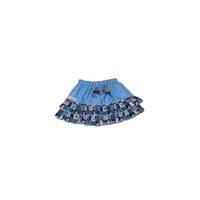 100% Cotton Baby RaRa Skirt - Baby Blue With Blue Patchwork - Small